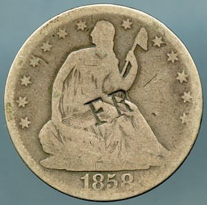 1858 Seated Half Dollar Good details initials on obverse