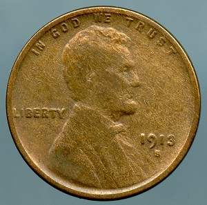1913 S Lincoln Cent VG cleaned