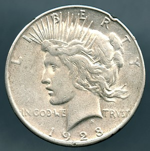 1928 S Peace Dollar VF details small rim cuts obverse