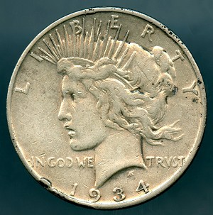 1934 S Peace Dollar Fine details rim issues