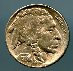1938 D Buffalo Nickel MS 63 details spots on obverse and reverse
