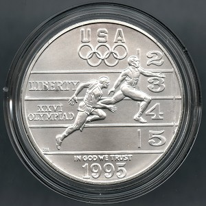 1995-D Olympic Track and Field Commemorative Silver Dollar - In Capsule only - Tone spots