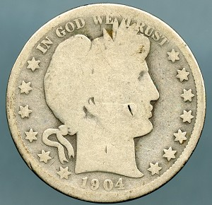 1904 S Barber Half Dollar About Good