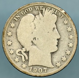 1907 S Barber Half Dollar About Good