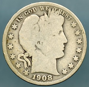 1908 S Barber Half Dollar Good