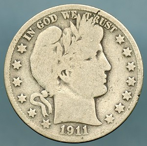 1911 S Barber Half Dollar About Good