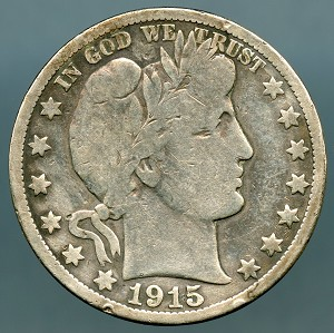 1915 S Barber Half Dollar About Good