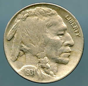 1931-S Buffalo Nickel XF-45