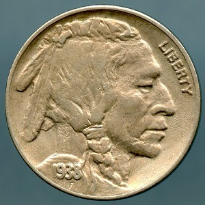 1938 D Buffalo Nickel AU-50