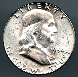 1954 Franklin Half Dollar B.U. MS-60