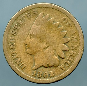 1862 Indian Cent Good