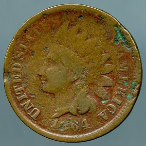 1864 L Indian Cent Cull- Pointed Bust