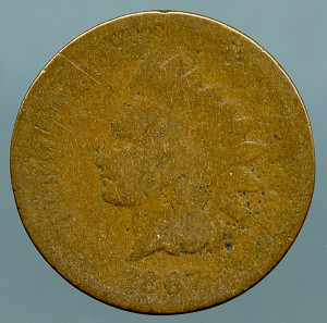 1867 Indian Cent About Good