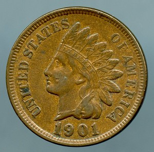 1901 Indian Cent XF-40
