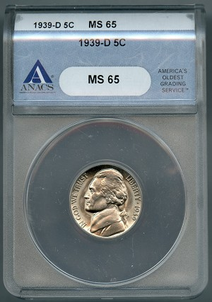 1939 D Jefferson Nickel  Rev. of 40  ANACS MS65