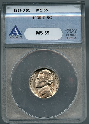 1939-D Jefferson Nickel ANACS MS65