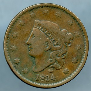 1834 Large Cent Very Good