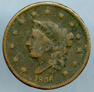 1836 Large Cent About Good
