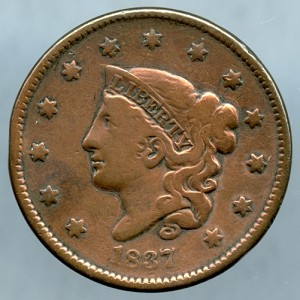 1837 Large Cent Fine - Cleaned