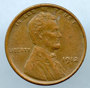 1912 Lincoln Cent XF 40 details lightly cleaned