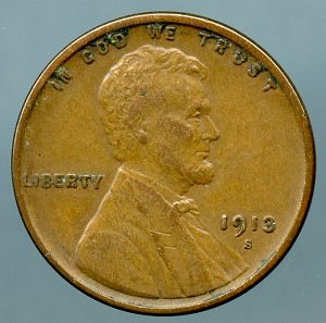 1913 S Lincoln Cent Choice VF-35