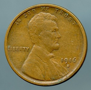 1916 S Lincoln Cent VF 35