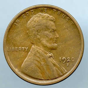1920 S Lincoln Cent XF 40