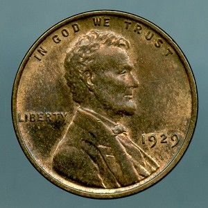 1929 Lincoln Cent MS 60 brown