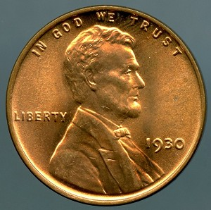 1930 Lincoln Cent MS 63 Red