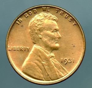 1931 Lincoln Cent MS 63 details cleaned