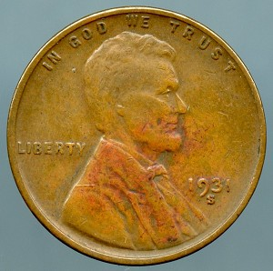 1931 S Lincoln Cent VF details light discoloration obverse