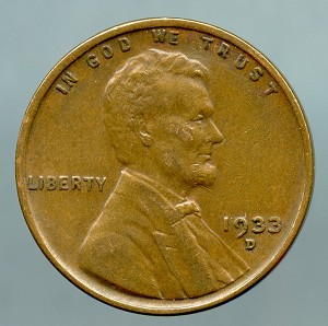 1933 D Lincoln Cent XF 40