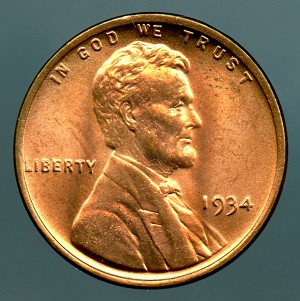 1934 Lincoln Cent MS 64