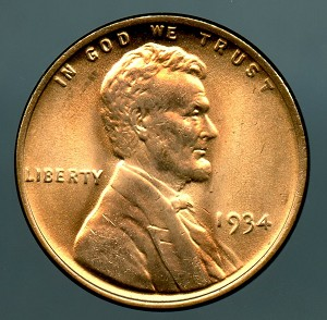 1934 Lincoln Cent MS 65 plus Red