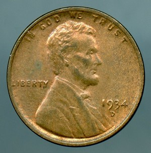 1934 D Lincoln Cent MS 60 brown