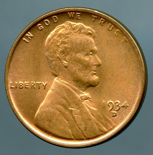 1934 D Lincoln Cent MS 63 spot on reverse