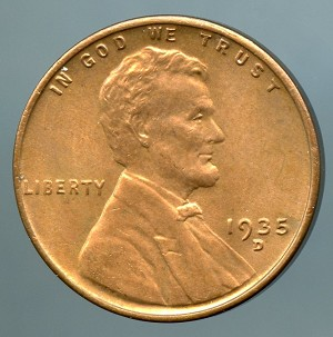 1935 D Lincoln Cent MS 60