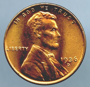 1936 D Lincoln Cent MS 63 plus