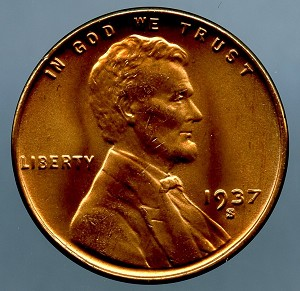 1937 S Lincoln Cent MS 64 plus