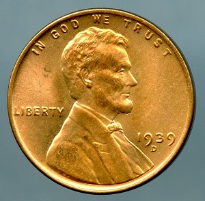 1939 D Lincoln Cent Choice MS-63