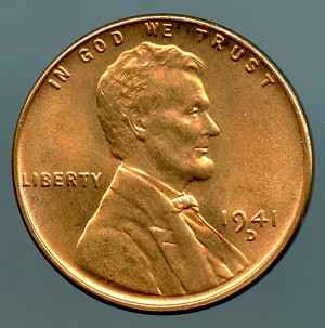 1941 D Lincoln Cent MS 63