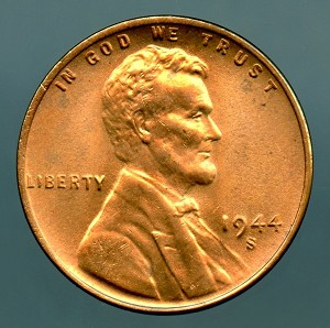 1944 S Lincoln Cent MS 65