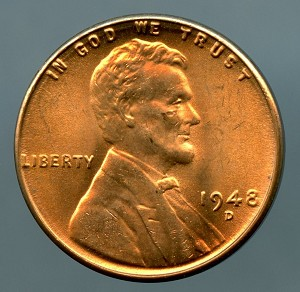 1948 D Lincoln Cent Choice B.U. MS-65