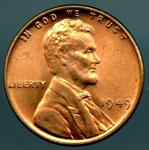 1949 Lincoln Cent MS 65 Red