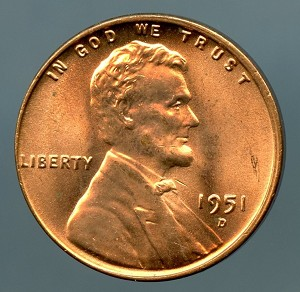 1951 D Lincoln Cent Choice MS-65