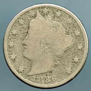 1886 Liberty Nickel About Good