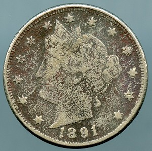 1891 Liberty Nickel Cull