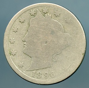 1896 Liberty Nickel About Good