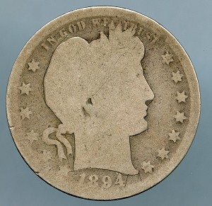 1894 S Barber Quarter AG