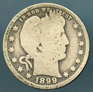 1899 O Barber Quarter Good